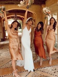 Beautiful Sheath Cowl Neck Open Back Spaghetti Straps Champagne Silk Satin Bridesmaid Dresses,Short Wedding Guest Dresses