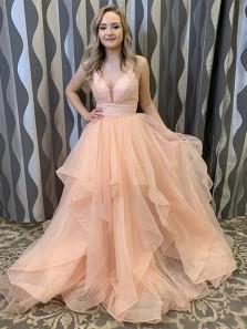 Gorgeous Ball Gown V Neck Open Back  Light Orange Tulle Long Prom Dresses, Cute Sweet 16 Party Dresses,Girls Junior Graduation Gown