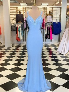 Classy Mermaid V Neck Open Back Blue Chiffon Long Prom Dresses with Appliques,Formal Evening Party Dresses