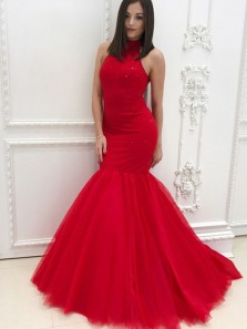Gorgeous Mermaid Halter Open Back Red Tulle Long Prom Dresses,Glitter Evening Party Dresses