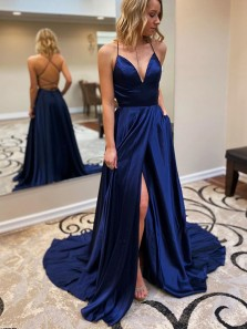Elegant A-Line Sweetheart Cross Back Navy Blue Satin Long Prom Dresses with Pockets,Formal Evening Party Dresses with Split