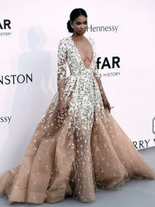 Luxurious Ball Gown Deep V Neck Long Sleeve Champagne Tulle Lace Prom Dresses,Custom Made Evening Party Dresses,Pageant Dresses
