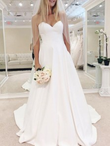 Ball Gown Sweetheart Open Back White Stain Wedding Dresses with Train,Simple Bridal Gown