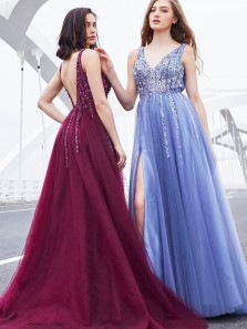 Stunning A-Line V Neck Open Back Mulberry Tulle Long Prom Dresses with Beading,Pageant Dresses,Girls Junior Graduation Gown