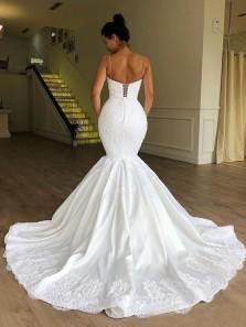 Glamorous Mermaid Sweetheart Spaghetti Straps White Satin Lace Wedding Dresses with Train