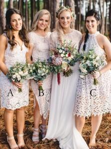 Sheath V Neck Sleeveless Lace Knee Length Bridesmaid Dresses Mismatched Bridesmaid Dresses
