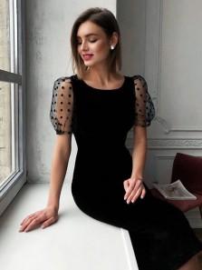 Vintage Round Neck Short Sleeves Black Tea Length Wedding Guest Dresses Evening Party Dresses