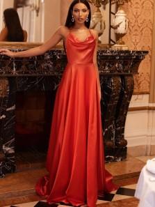 Stylish A-Line Cowl Neck Orange Satin Cross Back Long Prom Evening Dresses