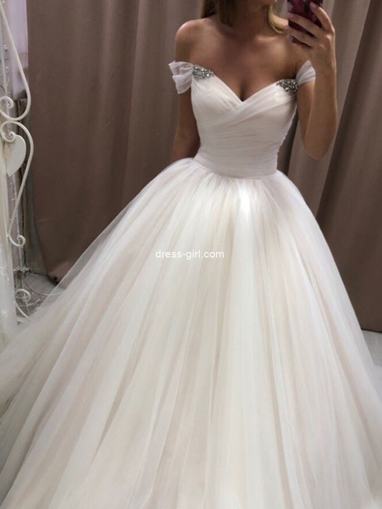 Princess A-Line Off the Shoulder White Tulle Wedding Dresses with Beaded
