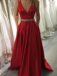 Elegant A-Line V Neck Open Back Red Satin Long Prom Dresses with Beaded Belt,Formal Party Dresses