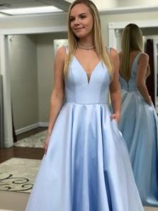 A Line Light Blue Satin V-neck Prom Dresses Backless Formal Gowns