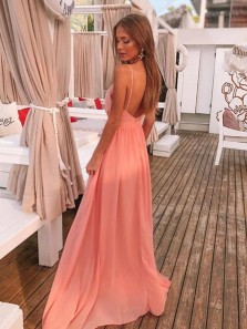 Simple A-Line V Neck Spaghetti Straps Open Back Coral Chiffon Long Prom Evening Dresses with Side Split Under 100