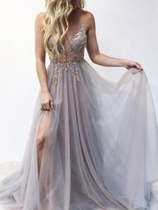 Unique A-Line Deep V Neck Open Back Tulle Long Prom Dresses with Beading,Formal Party Dresses