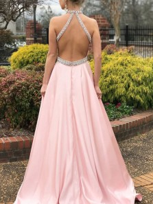 Fairy A-Line Halter Backless Pink Violet Satin Long Prom Dresses with Beading,Fomral Evening Party Dresses