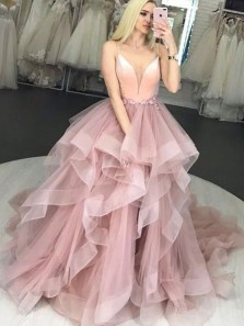 Charming A-Line V Neck Spaghetti Straps Open Back Blush Tulle Long Prom Dresses,Quinceanera Dresses