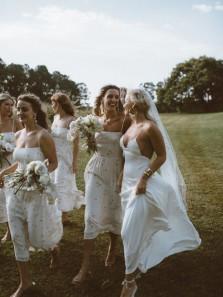 Simple A-Line V Neck Spaghetti Straps White Chiffon Wedding Dresses,White Chiffon Ankle Length Bridesmaid Dresses