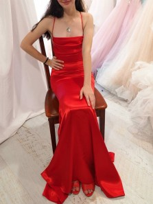 Stunning Mermaid Spaghetti Straps Red Satin Long Prom Evening Dresses