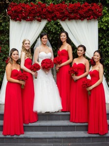 Charming A-Line Sweetheart Red Chiffon Long Bridesmaid Dresses Under 100