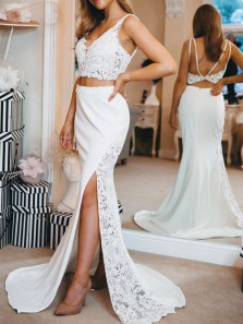 Modest Two Piece V Neck Open Back White Lace Long Prom Dresses with Side Slit
