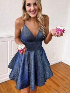 A-Line V Neck Spaghetti Straps Open Back Navy Blue Sequins Satin Short Homecoming Dresses with Pockets,Short Prom Dresses