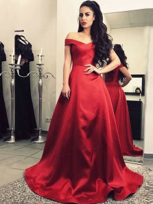 Charming A-Line Off the Shoulder Red Satin Long Prom Dresses with Pockets,Elegant Evening Dresses