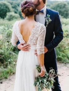 Vintage A-Line 3/4 Sleeved V Back White Chiffon Wedding Dresses with Lace,Beach Wedding Dresses