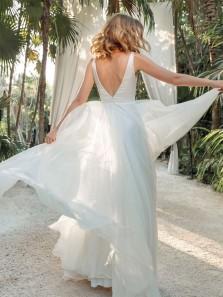 Elegant A-Line V Neck Open Back White Satin Tulle Long Wedding Dresses with Pockets,Simple Bridal Dresses
