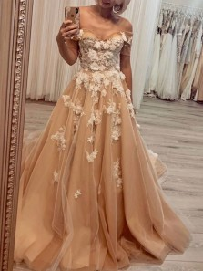 Charming A-Line Off the Shoulder Open Back Champagne Tulle Long Prom Dresses with Appliques,Unique Champagne Wedding Dresses