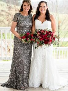 Elegant Sheath Round Neck Short Sleeve Grey Sequins Long Mother of Bride Dresses,Wedding Party Dresses