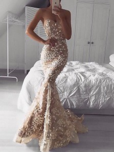 Unique Mermaid Sweetheart Open Back Champagne Blush Lace Appliques Long Prom Dresses,Evening Party Dresses