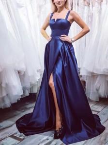 Elegant A-Line Square Neck Open Back Navy Blue Satin Long Prom Dresses with Split,Evening Party Dresses