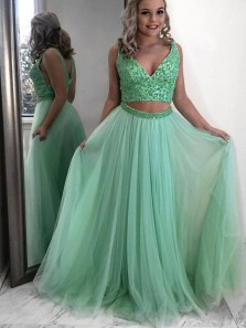 Gorgeous Two Piece V Neck Mint Tulle Long Prom Dresses with Beading,Evening Party Dresses