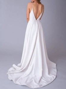Simple A-Line V Neck Open Back Spaghetti Straps White Satin Long Prom Dresses with Pockets,Cheap Wedding Dresses
