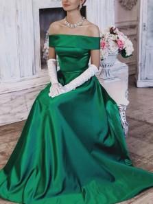 Elegant A-Line Off the Shoulder Green Satin Long Prom Dresses with Pockets,Formal Evening Party Dresses