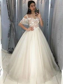 Elgenat Ball Gown Round Neck Half Sleeve Ivory Tulle Wedding Dresses,Lace Prom Dresses