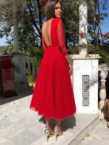 Elegant A-Line Boat Neck Backless Red Tulle Tea Length Prom Dresses,Wedding Guest Dresses