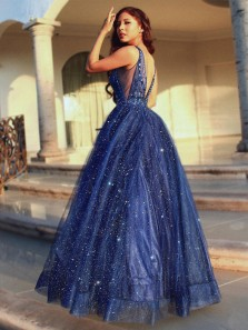 Gorgeous A-Line V Neck Open Back Navy Blue Beaded Long Prom Dresses,Sparkly Evening Party Dresses,Ball Gown Formal Dresses