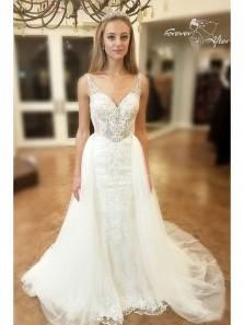 V Neck Ivory Lace Mermaid Long Wedding Dresses with Court Train