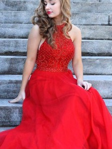 Gorgeous A-Line Halter Red Chiffon Open Back Long Prom Dresses with Beading,Beautiful Graduation Dresses