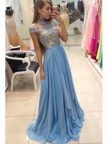 Delicate Beadings Chiffon A-line Blue Prom Dress,Cap Sleeve Sweep Train Lace Evening Dress,Long Homecoming Dress