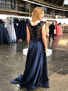 Elegant A-Line V Neck Navy Blue Satin Long Prom Dresses with Appliques Beads,Evening Party Dresses