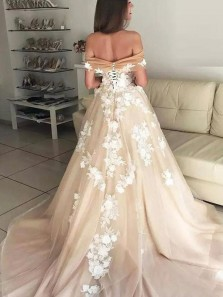 Charming A-Line Off the Shoulder Open Back Champagne Tulle Wedding Dresses with Lace,Formal Prom Dresses