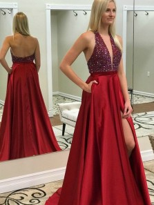 Charming A-Line V Neck Backless Dark Red Beaded Long Prom Dresses with Side Slit,Evening Party Dresses