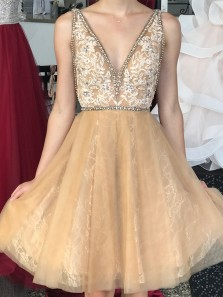 V Neck A-Line Open Back Champagne Tulle Short Homecoming Dresses with Appliques Beaded,Cocktail Party Dresses,Short Prom Dresses