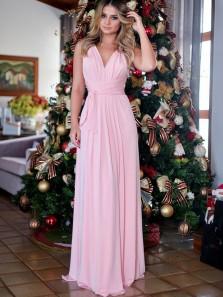 Simple A-Line V Neck Open Back Pink Chiffon Long Prom Dresses,Elegant Evening Party Dresses