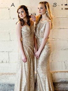 Sparkly Sheath Champagne Sequins Long Bridesmaid Dresses,Formal Evening Party Dresses