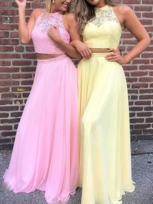 Gorgeous A-Line Two Piece Halter Open Back Yellow Pink Chiffon Long Prom Dresses with Appliques,Formal Evening Party Dresses