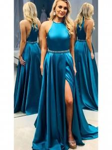 Elegant A-Line Halter Peacock Blue Satin Long Prom Dresses with High Split,Evening Party Dresses