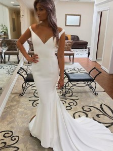 Simple Mermaid Off the Shoulder White Satin Wedding Dresses,Cheap Wedding Gown