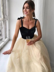 Chic A-Line Sweetheart Black and Champagne Tea Length Wedding Guest Dresses Evening Party Dresses